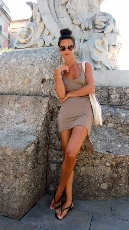 black sandals taupe dress