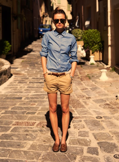 khaki shorts denim