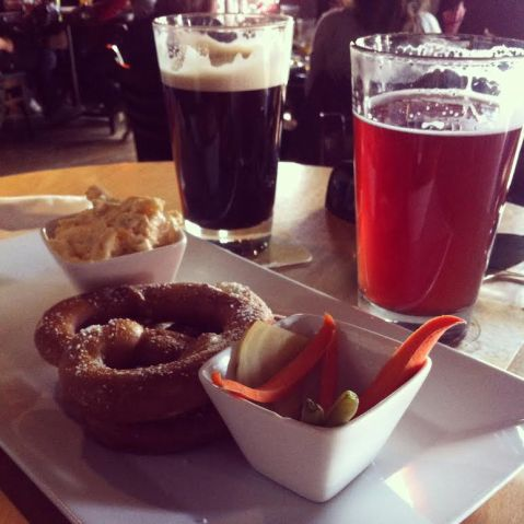 Enjoying a pint and pretzels and Banff Ave Brewing